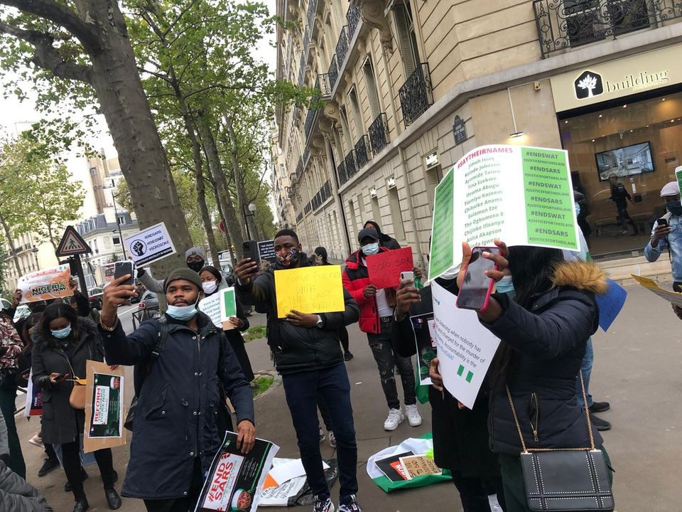 Nigerians In France Stage End-SARS Protest