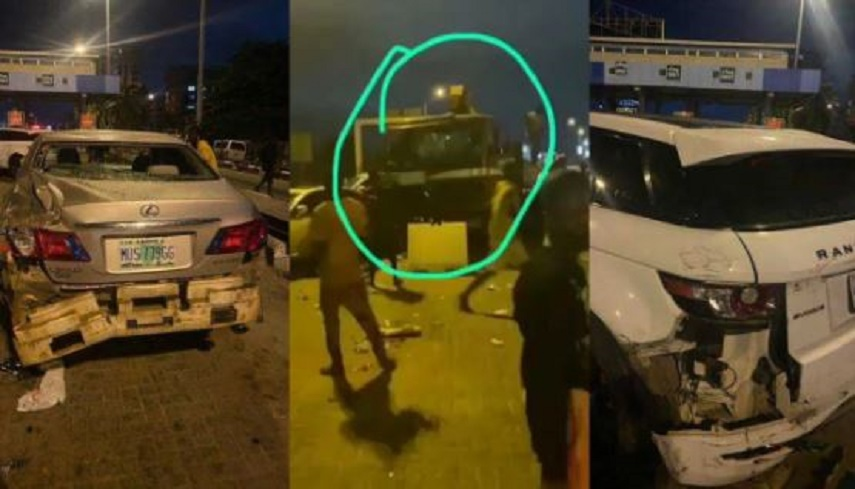 Cars Destroyed As Truck Rams into #EndSARS protesters At Lekki Toll Gate {Video}