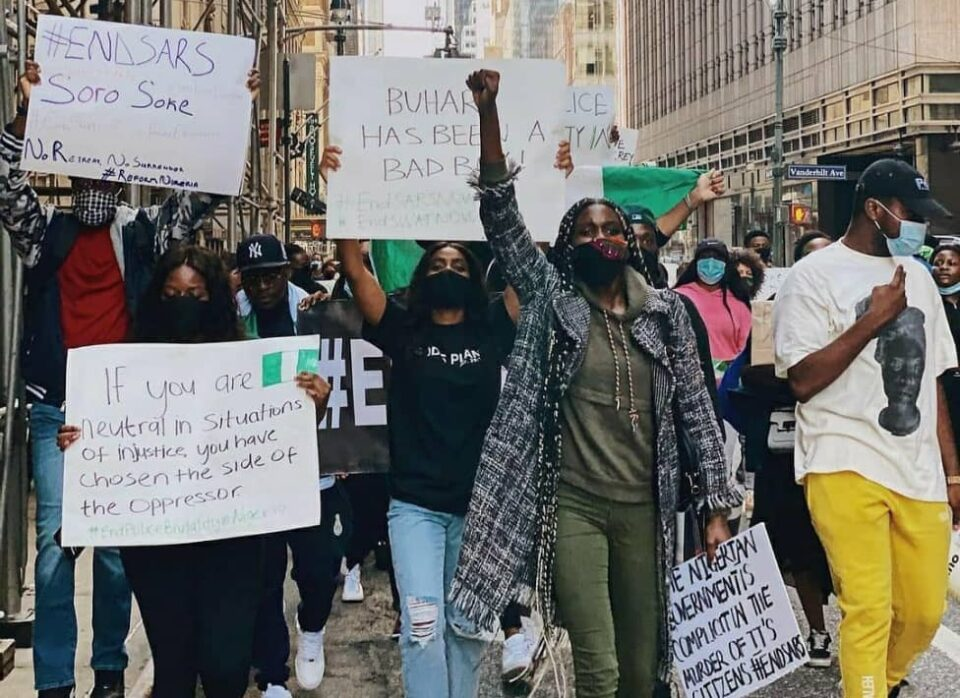 Nigerians In New York Stage #EndSARS Protest {photos/video}