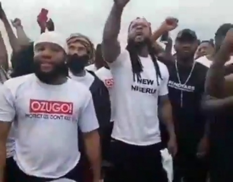Flavour, Phyno, Zoro, Kcee And Yul Edochie Lead Protest To SARS Head Office In Awkuzu, Anambra State {Videos}