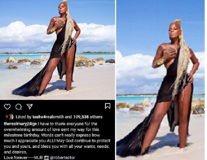 American singer Mary J Blige, 50, Exposes One Boob In New Photo