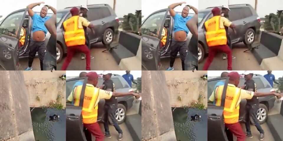 WATCH VIDEO: A Lagos Driver Trying To Escape Arrest From LASTMA Officials Hit Police Officer Off A Bridge In Lagos