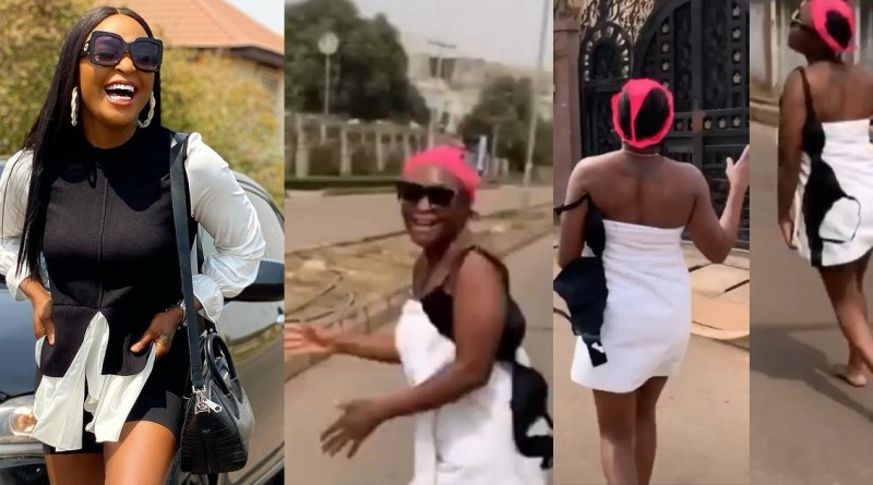 Blessing Okoro Goes Into The Street In Just Her Towel With Panties On Her Head To Celebrate 500K Followers On Instagram