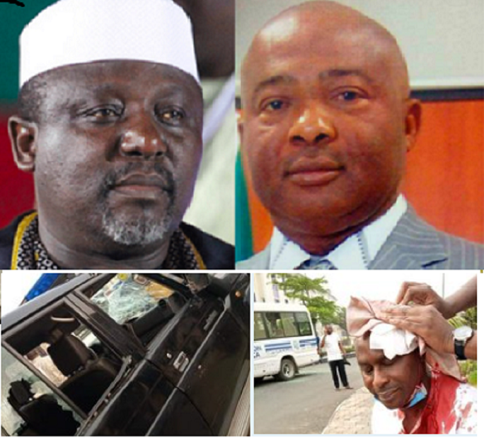 Many Injured And Cars Destroyed As Senator Okorocha And Governor Uzodinma Supporters Clash In Imo (Photos)