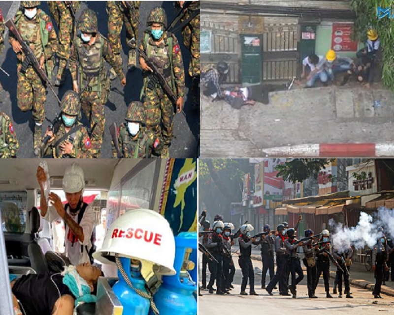 Myanmar Coup: Myanmar Security Forces Open Fire with Live Rounds On Unarmed Protesters Killing At Least 18 And Injuring Over 30 {Photos/Videos}