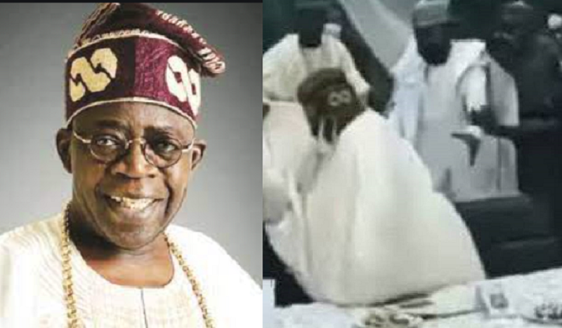 Watch The Moment APC National Leader, Bola Tinubu, Almost Fell After Missing His Step At A Function In Kaduna State {Video}