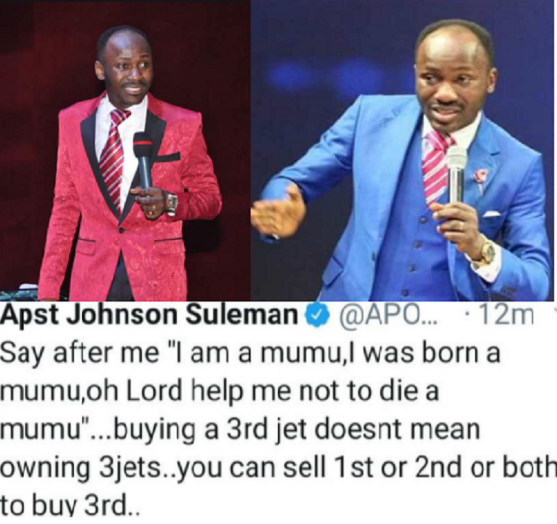 """""""Buying A 3rd Jet Doesn't Mean Owning 3 Jets"""" Apostle Suleman Clarifies As He Slams Critic"""