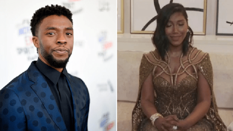 Chadwick Boseman's Wife, Simone Ledward Fights Back Tears As She Accepts His Award At The Golden Globes {Video}