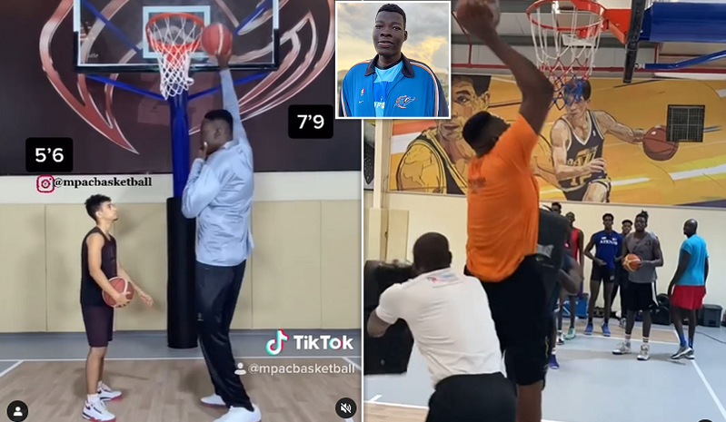 """Nigerian Basketball Player Who Is 7' 9"""" Becomes Viral Sensation And Would Be Tallest Player Ever In NBA History{Video}"""