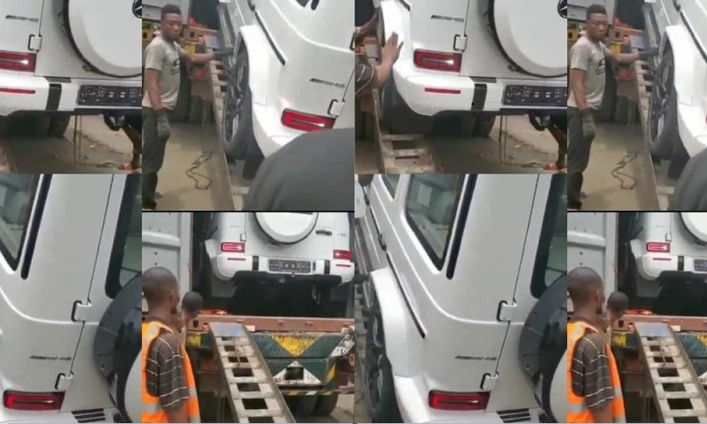 Hilarious Video Of Man Begging Profusely As A 2021 GWagon Is Being Offloaded From A Container {Video}