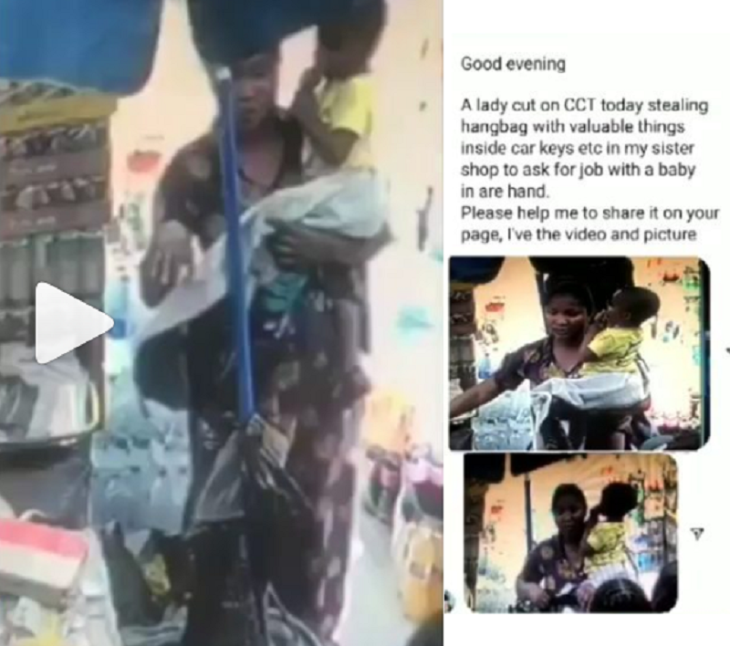 Nursing Mother Pretending To Be In Search Of A Job Caught On Camera Stealing A Bag In A Shop {Video}