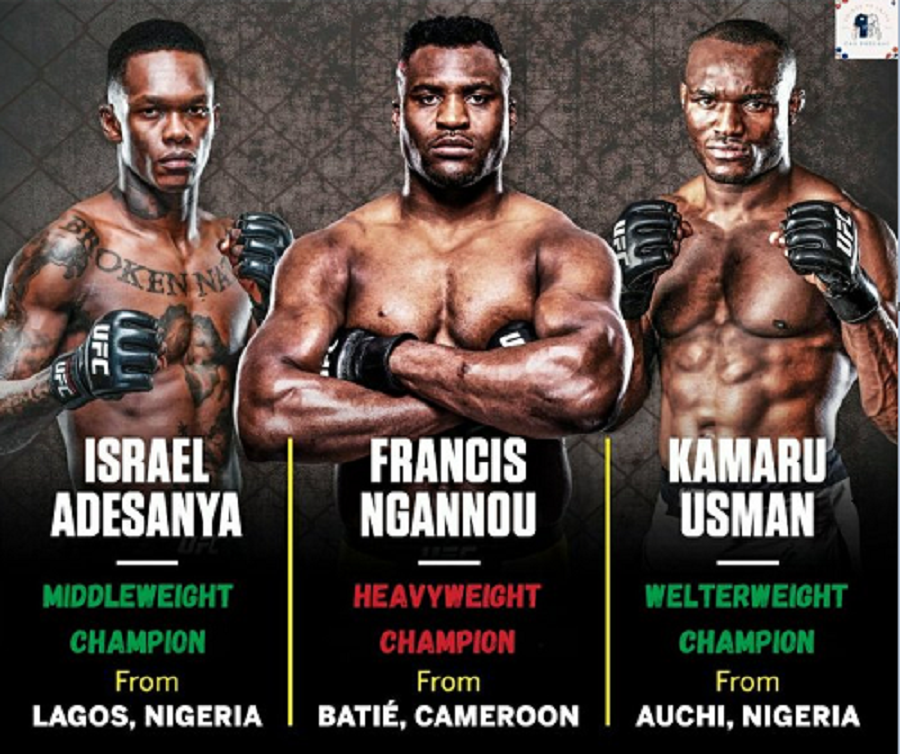 Nigerian-New Zealand professional mixed martial artist, Israel Adesanya has praised the amazing performances of other African fighters, Kamaru Usman and Francis Ngannou
