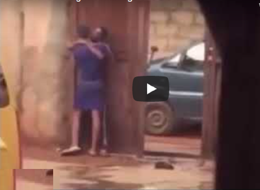 Moment A Nigerian Mother Caught Daughter Making Out With A Man In Their Compound {Video}